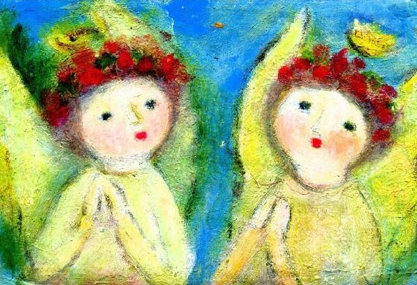 二人天使たち 油彩