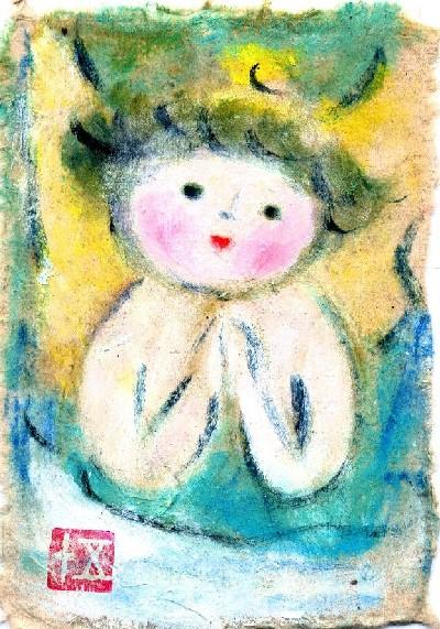 小さなうつわの天使たち 油彩