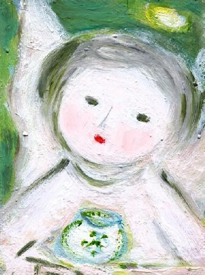 小さなうつわの天使 油彩