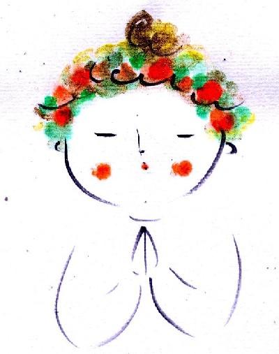 花冠の天使 水彩絵